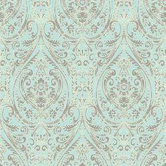 Turquoise Gypsy Damask Wallpaper