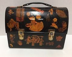 Asian themed vintage lunch box, decoupage