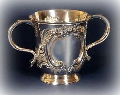 Antique sterling silver and gold washed, two handled baby cup ... ca. 1890                                    ****