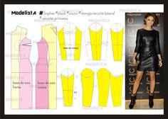 vestido de couro, manga com recorte na lateral e recorte princesa da atriz Sophie. Fonte: http://www.facebook.com/photo.php?fbid=534942663208310=a.426468314055746.87238.422942631074981=1
