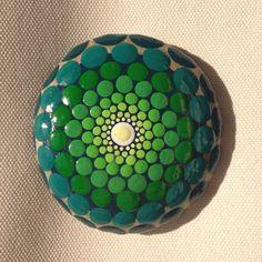 Green Mandala Painted Stone  Adriatic /Gift / by CreateAndCherish