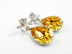 Yellow Swarovski Teardrop Earrings, Cubic Zirconia, Wedding Jewelry, Bridesmaid Earrings, Sunflower Wedding, Summer Wedding, Silver Earring