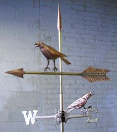 """""""Sqawking Crows"""" Weathervane  Crow Weathervane   2 Sided or Swell Bodied All Copper Weathervane with Faux Bronze Finish. Includes SS Mast, Solid Brass Directionals and 2 Hand Spun Copper Balls. All Maintenance-Free Material Fabricated in our Connecticut Studio Location     PLEASE NOTE:  Every weathervane on this site was created at the request of a client interested in custom weathervane fabrication. Most are one-of-a-kind, All are Hand-Crafted. We use a sandbag, metalsmith hammers.."""