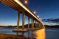 Tasman Bridge - Long exposure of the Tasman bridge connecting Hobart's eastern and western shores with star bursts from the bridge providing some sparkle