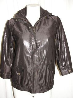 Chico's Womens Size 0 S/4/6 Dark Brown Foil Light Weight Snap Zip Jacket 3/4 Slv #Chicos #BasicJacket #Casual