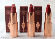 Charlotte Tilbury Matte Revolution Lipstick in Bond Girl, Love Liberty and Red Carpet Red!