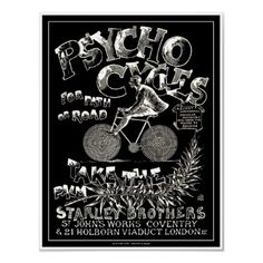 Vintage Bicycle Poster:  Psycho Cycles
