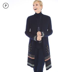 """Inspired by stained glass windows of great medieval cathedrals, this cozy and commanding cardigan is a treasure in itself— with metallic jacquard ribbons burnished with gold-tone details and black-and-silver beading, while velvet appliqués underlie exquisite crest motifs.   Long sleeves.  Open-front design.  Regular length: 36"""".  Petite length: 34"""".  Cotton.  Hand wash. Imported."""