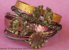 boho GYPSY bangle stack .... smashed knitting needle BRACELETS and vintage bangles - Christine's Cabinet on etsy.  metal, aluminum, vintage buttons, knitting needles, smashed buttons, vintage bracelets, recycled metal, bangle, brass