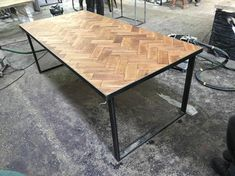 Reclaimed Solid Oak Parquet Industrial Chic Seater Solid Wood & Steel Dining Table Cafe Restaurant Furniture Steel Made Measure 523 8 Seater Dining Table, Steel Dining Table, Furniture Dining Table, Oak Table, Kitchen Furniture, Office Furniture, Industrial Chic, Industrial Furniture, Rustic Furniture