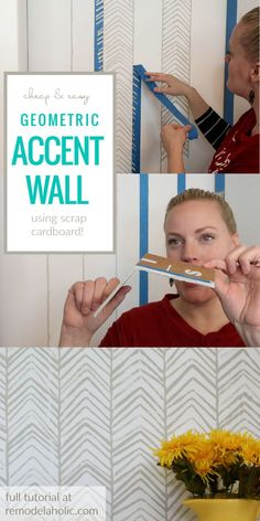 How To Stamp Your Own Cheap And Easy Geometric Accent Wall In A Herringbone Pattern Without A Stencil #remodelaholic Diy Wand, Herringbone Wall, Herringbone Pattern, Hand Painted Walls, Hand Painted Wallpaper, Blog Deco, Wall Patterns, Painting Patterns On Walls, Diy Painting