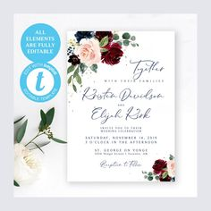 #weddinginvitation #package #suite #burgundy #wine #navy #printable #diy #wedding #bridetobe #floral #roses #invites #invitations #printables #template Photo Booth Frame, Wedding Welcome Signs, Burgundy Wine, Wedding Invitation Suite, Response Cards, Bridal Showers, Wedding Programs, Blue Flowers, Invites