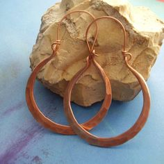 Large Rustic Forged Copper Hoop Earrings - Hammered Rio Metalsmith Copper Jewelry