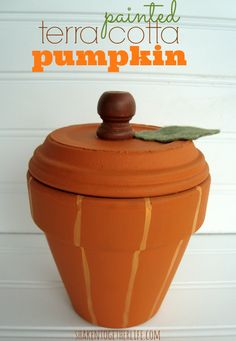 Use a terra cotta pot & saucer to make a cute painted pumpkin for Fall | shakentogetherlife.com