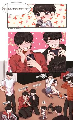 Vkook as parents Taekook, Bts Chibi, Vkook Fanart, Dibujos Cute, This Is A Book, Bts Drawings, Bts Fans, Bts Bangtan Boy, Bts Memes
