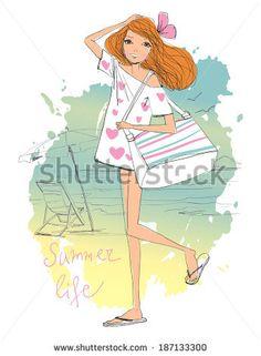 girl on the beach  - stock vector