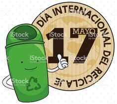Button and Recycle Bin Promoting Recycling Day Celebration in Spanish Round Button, Recycling Bins, Free Vector Art, Image Now, Promotion, Spanish, Celebration, Buttons, Day
