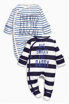 a12a26baf5eee Lot de deux dors-bien imprimé Mummy And Daddy rayé bleu marine blanc (