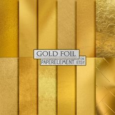 Gold Foil Digital Paper by PaperElement on Etsy. 12 of the most luxurious and realistic golden textures you'll ever find. These will really add some class to your designs, birthday and wedding invites etc.