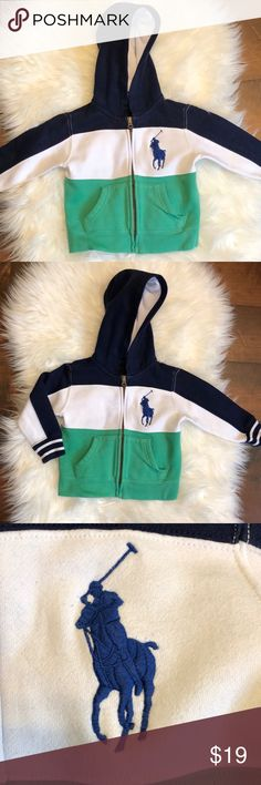 POLO RALPH LAUREN ZIP UP HOODIE BOYS 2T POLO RALPH LAUREN ZIP UP HOODIE BOYS 2T Green, navy, and white striped with embroidered polo emblem. 87% cotton 13% poly.  Fast shipper (1-2 days)  Top rated seller  Smoke free home  Clothes are washed and ironed  Bundle discount   Reasonable offers Polo by Ralph Lauren Shirts & Tops Sweatshirts & Hoodies