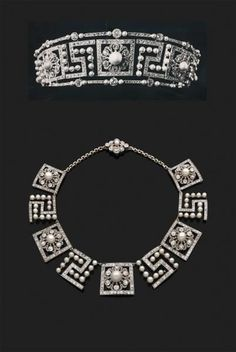 A belle epoque diamond and pearl Greek Key, or Meander, tiara necklace combination; the nine panels can be converted into a tiara by the addition of a frame with an added base line and added top row. Possibly French.