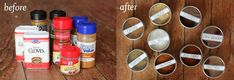 I love this storage idea for spices.....I can see uses for it in the craft room and garage too