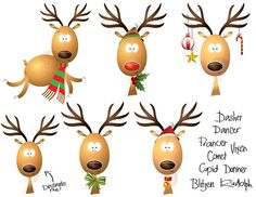 Christmas Clipart Reindeer Scrapbooking Rudolph the Red Nose Reindeer LARGE Xmas Clip Art  Commercial Personal Use Make Your Own Cards 10418. $5.70, via Etsy.