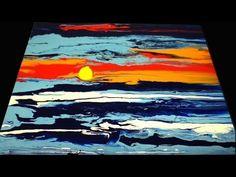 Fluid Acrylic Painting Ocean Sundown, Sunset Painting, Acrylmalerei Sonnenuntergang Demo - YouTube