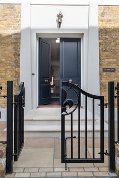 New entrance door by K and D joinery and Gates by GKW designed by Deborah Hebel Miseb limited and Shubunkin. Repaired render surround by RDL render Kent using Baumit. Bed City, Entrance Doors, Joinery, Gates, Bungalow, Oversized Mirror, Building, Design, Home Decor