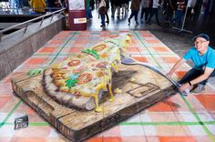 3D Chalk Art harry potter | Amazing 3D Street Chalk Art- Giant Pizza Slice