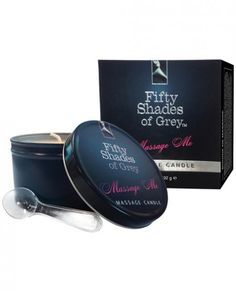 Fifty Shades of Gray Official Collection Massage Candle 6.7 ounces. Dual purpose candle can be used as an aromatic candle but melts into massage oil at a low temperature, infused with Christian Grey's signature bergamot, sandalwood ad musk scent.