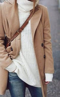 A camel hair coat with oversized sweater - great combination of classic and current!