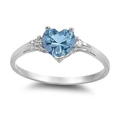 0.50 Carat Blue Aquamarine CZ Heart Shape Round Russian CZ 925 Sterling Silver Promise Ring Love Valentines Gift Wedding Engagement Ring