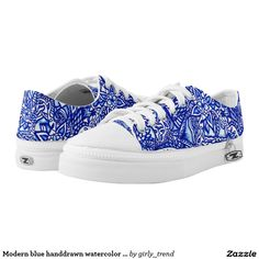 Modern blue handdrawn watercolor floral mandala printed shoes