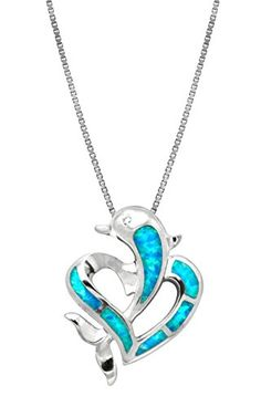 This simple sterling silver synthetic blue opal dolphin heart necklace is both elegant and playful. Perfect for any collection.Comes with a 16'-18' adjustable box chain. Gift box included. From Honolu...