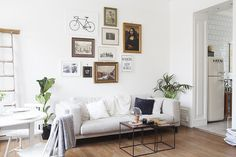 Living room with picture wall