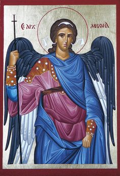 This project includes pictures of the most esteemed saints in orthodox religion, made in traditional technique - wood panels, gold leaf cover and pigments. Catholic Archangels, Greek Mythology Art, Roman Mythology, Archangel Raphael, Raphael Angel, Byzantine Icons, Saint Michel, Madonna And Child, Religious Icons