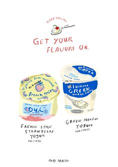 yogurt illustration by Moreparsley Spot Illustration, Digital Illustration, Design Art Drawing, Food Drawing, Doodle Drawings, Cute Drawings, Posca Art, Food Painting, Aesthetic Stickers