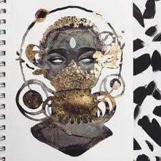 "18 Likes, 1 Comments - Racheal S. (@rs.arts) on Instagram: ""• Ancestral • Inktober Day 26 • • • • #artwork #inktober #draw #blackwomenart #blackart…"""