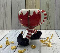 Santa's Christmas Elf Mug, Red Pixie Tea Cup, Running Coffee Mug, Whimsical Pottery, Table Decoratio Christmas Dishes, Santa Christmas, Vintage Christmas, Christmas Time, Nutcracker Christmas, Egg Art, Old Fashioned Christmas, Christmas Table Decorations, Xmas Ornaments