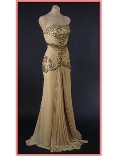 Vintage Inspired Gold Chiffon Beaded Old Hollywood Style Glamour Gown
