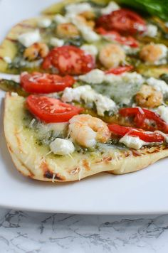 Grilled Shrimp and Goat Cheese Pizza - easy grilled pizza on naan bread with…