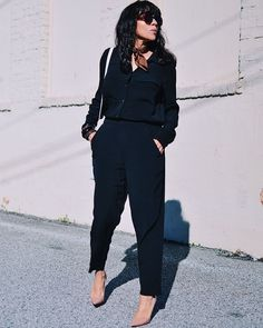 Loong sleeve top, trousers, pumps and neck scarf | For more style inspiration visit 40plusstyle.com