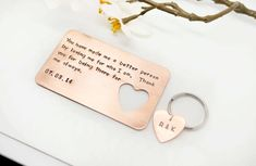 Hand stamped Wallet Insert Card and Key Chain Set - Bride to Groom Wedding Gift - Anniversary Gift - Wedding Day Keepsake Present