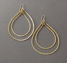 Double Gold Teardrop Earrings