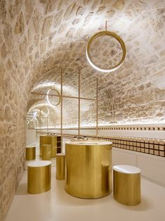b8fe3271e64 ARCHIEE fits underground vault with golden accents for japanese cosmetics  boutique
