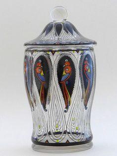 Deckeldose Glas Fachschule Steinschönau Vögel handgemalt Jugendstil 21 cm