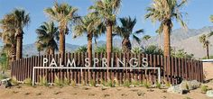 The stunning new Gene Autry gateway sign at the entrance to Palm Springs. Palm Springs Tram, Palm Springs California, Entrance Signage, Outdoor Signage, Vertical Signage, Wayfinding Signage, Signage Design, Spring Font, Monument Signs