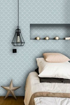 Scallop Pattern Wallpaper in Dove Grey Removable Vinyl