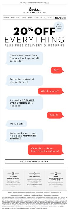 #boden #emailnewsletter 26.09.2014. Nice creative concept but execution is uncomfortably cringeworthy.